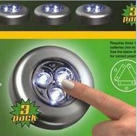 2014 Wholesale 3 LED Cordless Stick Tap Wardrobe Touch Light Lamp Battery Powered 3 pcs/lot