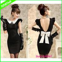 T00001 - 2014 New Summer Dress Sleeveless Deep V Back Design Sheath Black dress with Bow Tie Party Dress Free Shipping