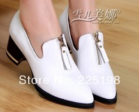 women's genuine leather pumps 2014 spring fashion pointed toe shoes platform high heels single shoes big size 35-40