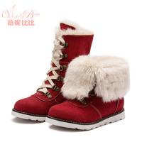 2014 Children' winter fashion shoe botas meninas brand imitation cow velvet fabric rubber sole Martin/snow boots for kids a girl