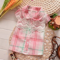 14 summer female child 100% short-sleeve cotton boy  all-match children 0-1 - 2 - 3 infant peter pan collar  new baby clothing