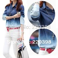 2014 Spring New Blouses & Shirts Female Long Sleeve Cotton Blouse Women Casual Loose Tops Woman High Street Denim Shirt  1376