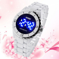 Free shipping by hk SKmei brand lovers LED watch male female table wriswatches stainless stell best for gift black and white