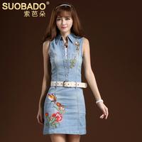 2014 summer finishing retro vintage embroidered dress slim denim  embroidery sleeveless denim one-piece dress