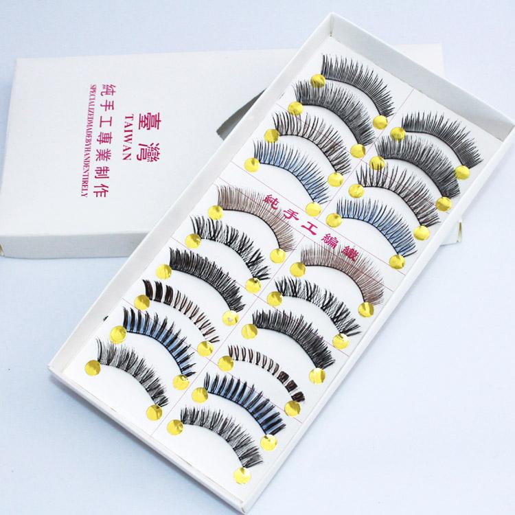 Handmade natural the dense false eyelashes 10 Pairs for different styles individual eye lashes(China (Mainland))