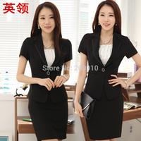 2014 New Women's set work  blazer set  short design suit  spring Autumn short-sleeve skirt suit sets Office Business Sets