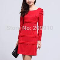 2014 new spring red  and Black one-piece Career work  dress slim ol women's one-piece dress