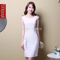 Formal work uniforms short-sleeve dress spring and autumn wOMEN dresses plus size S-4XL size