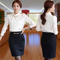 2014 Women spring Autumn set  Skirt Suits Set Ol Elegant fashion formal work wear suits plus size S-4XL Ofice Suits  Sets