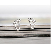 Genuine 100% Real Pure 925 Sterling Silver fashion Korean style little feet stud earrings. silver jewelry earrings