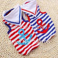 Free Shipping Summer New Pet Dog Stripe Cravat Vest Pet Clothes Dog Clothes Costume Cute Sailor Vest for Dogs Drop Shipping