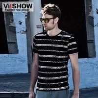 Viishow male short-sleeve T-shirt fashion slim o-neck stripe male t-shirt new2014 summer mens short sleeve