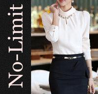 Fashion 2014 Formal Chiffon Blouses Women Royal Solid shirt ladies blouses Diamond shirts blusas blusa Plus size