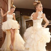 Ferrara 2014 fashion short front with trailing flower female train summer wedding dress