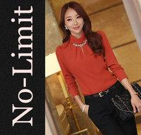 2014 Spring Vintage Chiffon Blouse Womens Long sleeve shirts lady blouses with Diamond shirts blusas blusa free shipping