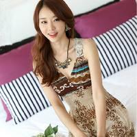 0777 bohemia beach print V-neck jumpsuit full dress holidaying expansion bottom summer one-piece dress