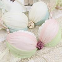 New 2014 Sweet chiffon rose chain 3 breasted women's push up underwear panties bra set