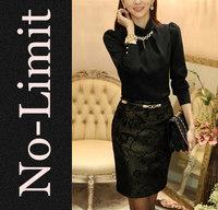 2014 Spring new black chiffon Blouses Womens Casual shirt ladies blouse females with Diamond blusas blusa good quality