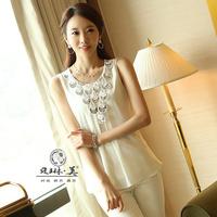 2014 summer lace flower sleeveless chiffon shirt chiffon top basic 8622 chiffon shirt  lace chiffon blouse