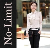 2014 Spring Chiffon Blouses Women Vintage Cute shirt ladies blouse shirts blusas blusa 4 color + Removable bow collar