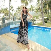 2014 print bohemia style full dress one-piece dress beach dress expansion skirt bottom