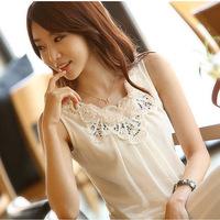 8611 2014 spaghetti strap vest lace chiffon spaghetti strap sleeveless top women's basic shirt small vest female