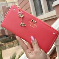 New 2014 fashion diamond bow pendant women's long design new wallets leather billfold brand carteiras femininas ,Free Shipping x