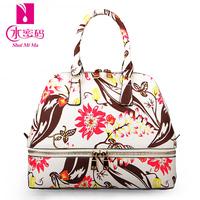 New 2014 pvc fashion trend of the fashion flower print flower package portable women's handbag