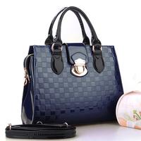 New 2014 fashion japanned leather plaid female bags women's shoulder bag handbag