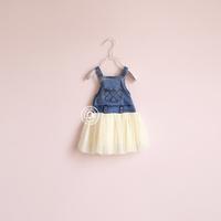 fashion girl j - grille pocket denim yarn braces skirt one-piece dress