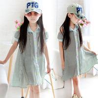 Girls summer clothing 2014 medium-long strapless chiffon loose stripe one-piece dress