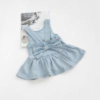 2014 summer girl baby girls clothing big bow denim back skirt braces skirt a2