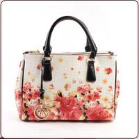 New 2014 PU women's shiny handbag japanned leather oil painting print women's handbag flower embossed handbag vintage bag