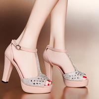 Moolecole summer rhinestone thick high-heeled sandals l52-12