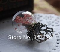 NEW!20set/lot 25*15mm Glass Bubble vial glass dome with lace ring setting set  DIY vial pendant glass bubble