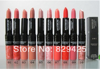 Wholesale new Cosmetics makeup 2in1 LIP STICK and lipgloss 3g 20 color (10pcs/lot) free shipping