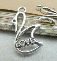Love swan charm pendant, 18x28mm, antique silver, wholesale