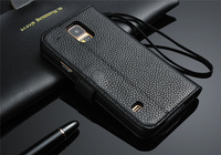 New 2014 High Quality Luxury Litchi Pattern Genuine Leather Flip Case Cover for Samsung Galaxy S5 Wallet Cover for Galaxy S5