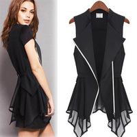 2014 Summer Fashion Brand Sleeveless Jacket Zipper Design Vest Chiffon Shirt Vest Black,White