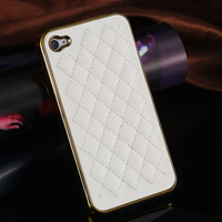 The Best Fashion Luxury PU Leather Case for  iPhone 4 4S / 5 5S Soft Grid Pattern Back Skin Cover GRS