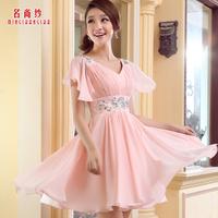 2014 formal dress short skirt bride bridesmaid dress evening dress princess sleeve wedding dress small short skirt formal dress
