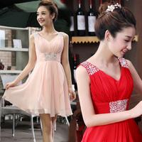 Summer cool and refreshing chiffon skirt double-shoulder V-neck handmade formal dress the bride wedding dress short design