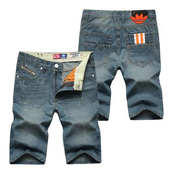 Новый Desgin марка джинсовой короткие джинсы брюки удобные дышащие прямые джинсы летние шорты хлопок мужские джинсы синего