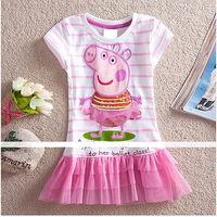 2014 new summer girl dress peppa pig clothing kids tutu lace child dress girl dresses princess baby wear flower free shipping