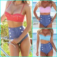 2014 New RETRO Swimsuit Swimwear Vintage Push Up Bandeau HIGH WAISTED Bikini Set Brand Biquini vs Bathing Suit Free Shipping