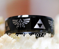 Free Shipping USA UK Canada Russia Brazil Hot Sales 8MM LEGEND Of ZELDA His/Her Shiny Black Men's Tungsten Carbide Wedding Ring