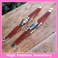 X2020 free shipping high quality fashionable genuine leather charm bracelets new arrival handmade jewelry wristband 10pcs/lot
