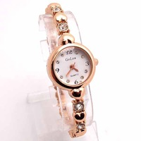 Super Sale New Brand Rose Gold Tone Watch Women Lady Crystal Fashion Quartz Dress Wristwatches GO095