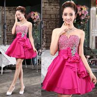 2014 spring fashion banquet formal dress rose bridesmaid dress red bride evening dress long formal dress
