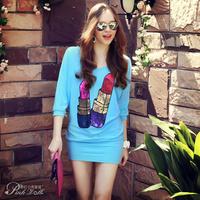 Pink Doll Brand New Spring And Summer 2014 Women's Blue Sequins Lipstick Print Bat Sleeve Sweater Dress